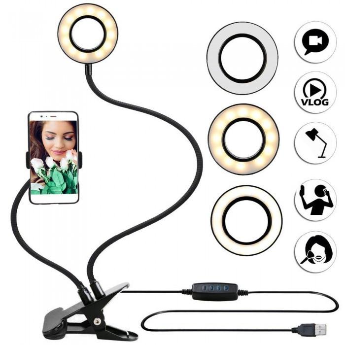 Селфи-кольцо (LED подсветка) с держателем для телефона для прямых трансляций 5510