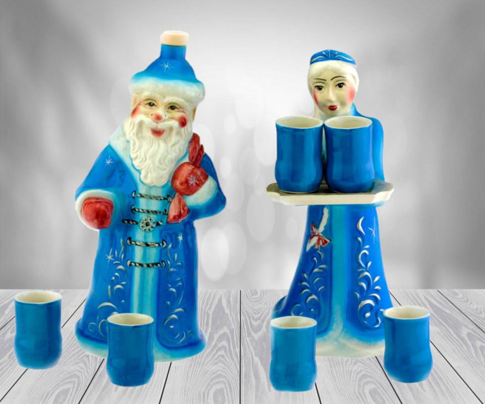 Подарочный набор Дед мороз и снегурочка, 8 предметов штоф 2,25л