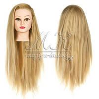 Учебная голова манекен для причесок 20% натуральных волос, блондинка / болванка для парикмахера