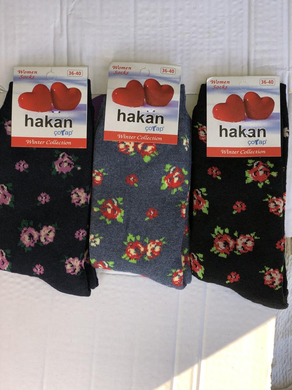 Жіночі махрові носки шкарпетки HAKAN з малюнком квітів новорічні 36-40 мікс кольорів