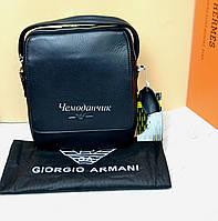 Кожаная мужская сумка Giorgio Armani Армани  ручка+ремень  6