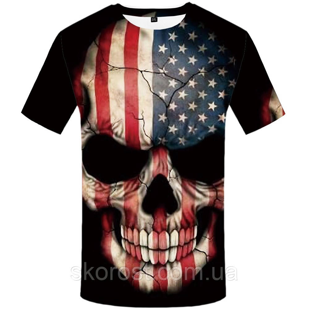 Мужская футболка American skull  XL,  3XL