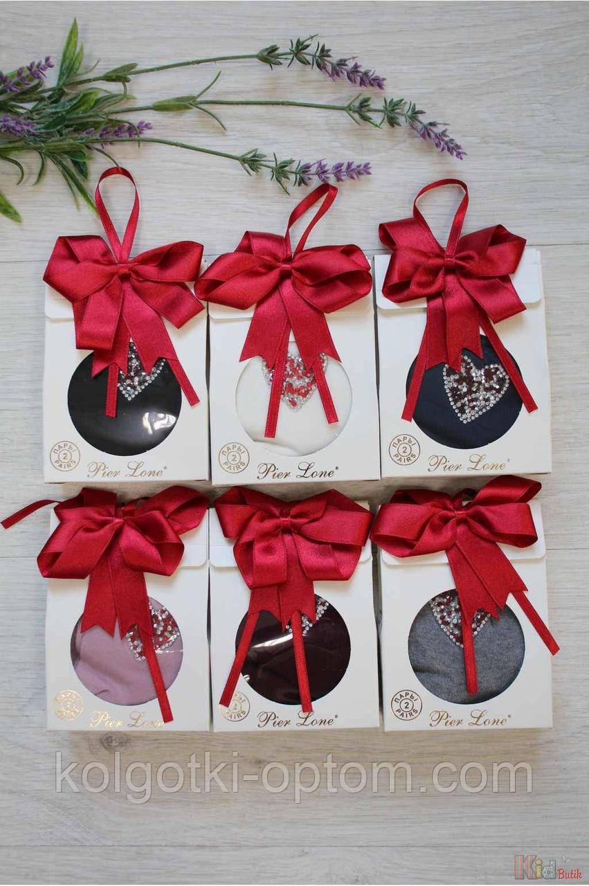 ОПТОМ Носки 2шт. для девочки Подарочный набор с бантом 35-40р. (25 / M / 38-40 см.)  Pier Lone 8681788324582