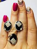 Гарнитур в серебре с  золотом и ониксом Нинет , фото 2