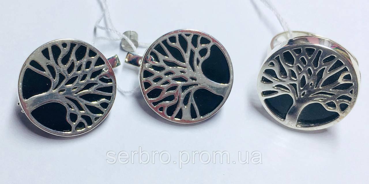 Гарнитур в серебре с ониксом Дерево жизни