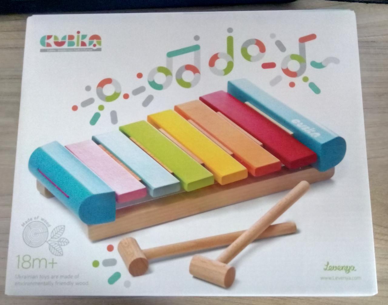 Ксилофон музикальна деревяна розвиваюча ігра ТМ CUBIKA Дерев'яна іграшка Ксилофон