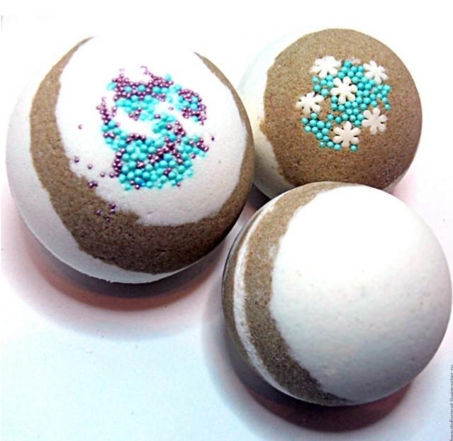 Бомбочки для ванной шарики шипучки ручной работы Шоколадные с бисером