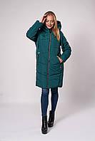 Свободная изумрудная длинная зимняя куртка 42,44,46,48
