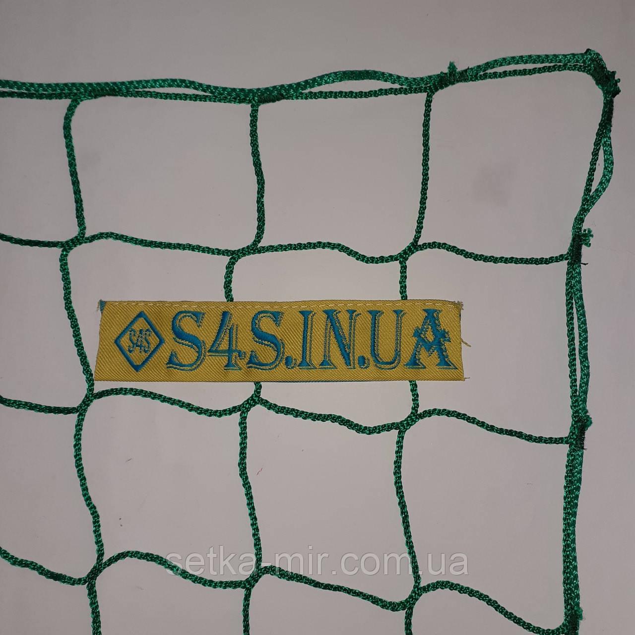 Спортсетка безузловая испанская, полипропилен, D – 3 мм, ячейка – 10 см, для ограждения спортплощадок, зелёная