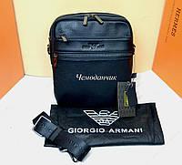 Кожаная мужская сумка Giorgio Armani Армани черная 7