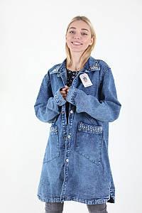 Куртка женская Yangyangfushi 117 джинс батальна (Синий 62)