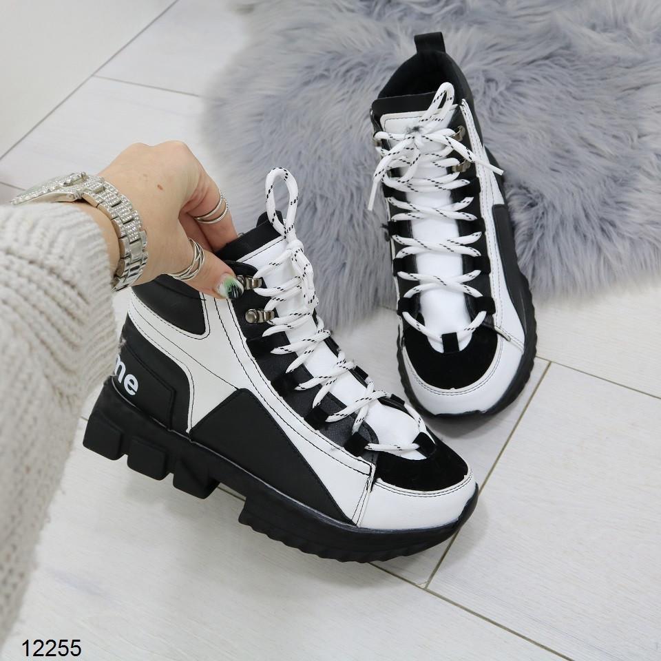 Женские зимние ботинки черно-белого цвета, эко кожа 36 37 ПОСЛЕДНИЕ РАЗМЕРЫ