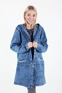 Куртка женская Yangyangfushi 1908 джинс батальна (Синий 62)