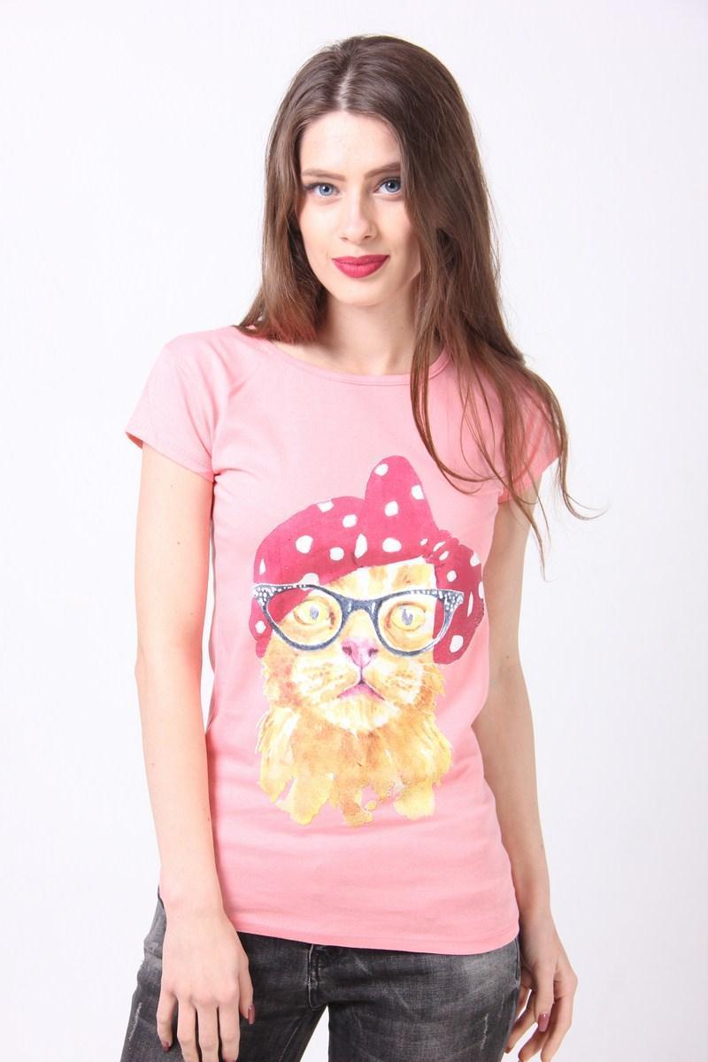 Футболка женская Poncik 223 кот (Розовый M)