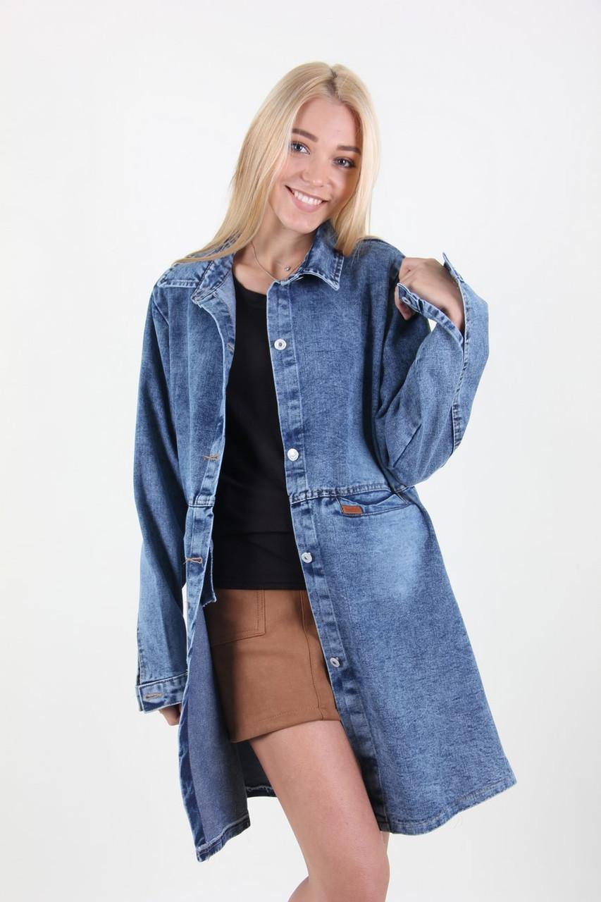 Куртка женская Yangyangfushi 1925 джинс батальна (Синий 62)