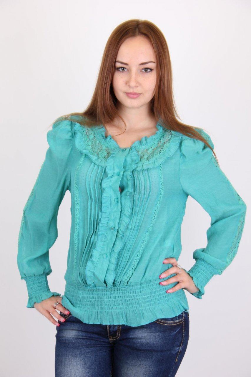 Блузка женская EURO'S 13120 (3039) с пуговицами (Бирюзовый 48)