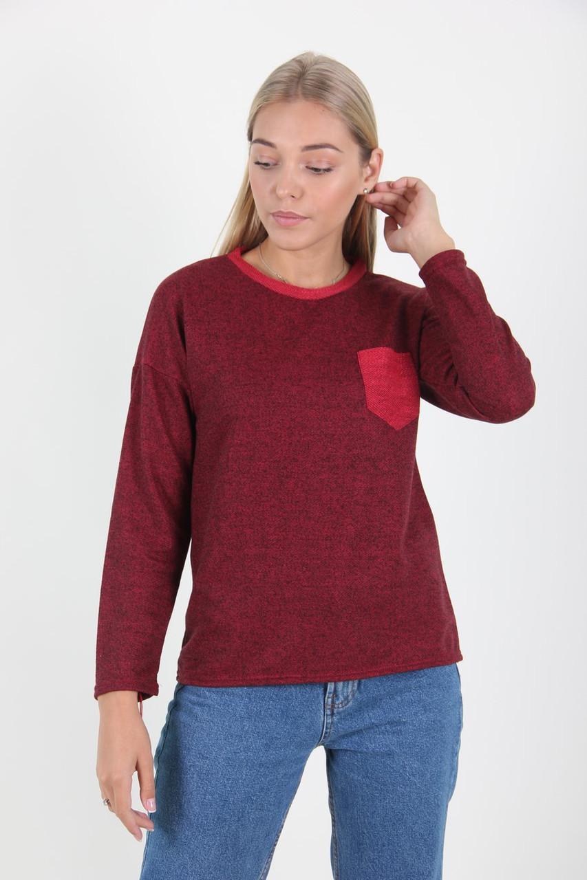Кофта женская MissFashion 3047 с карманом на груди (Марсал 50)