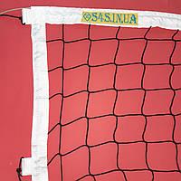 Сетка для классического волейбола «ЕВРО НОРМА ЛАЙТ» с тросом черно-белая