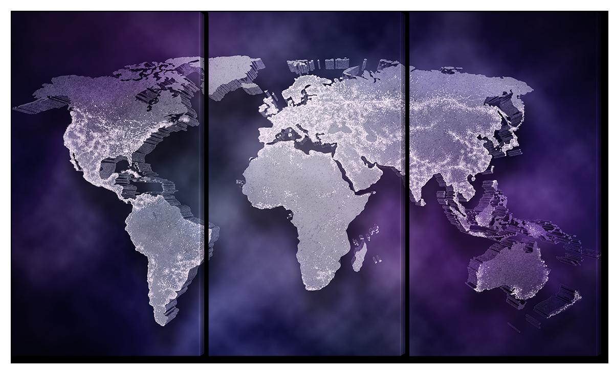 Модульная картина Interno Холст Объемная карта 84х47см (R5577S)
