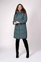 Женская длинная зимняя куртка на молнии зеленая 42,44,46