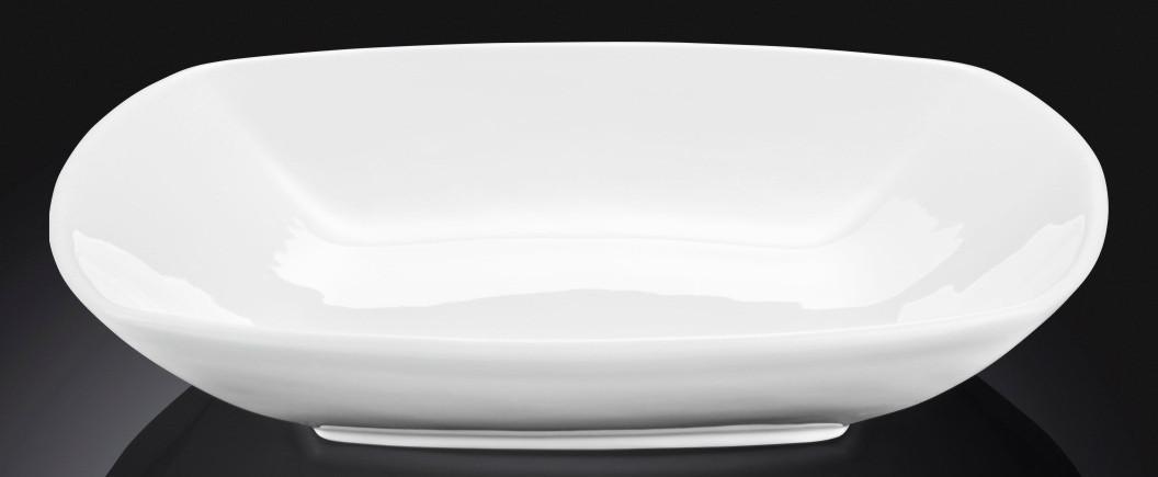 Тарелка фарфоровая глубокая Wilmax квадратная белая (25 см)