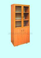 Шкаф книжный со стеклянными дверями в рамочном фасаде