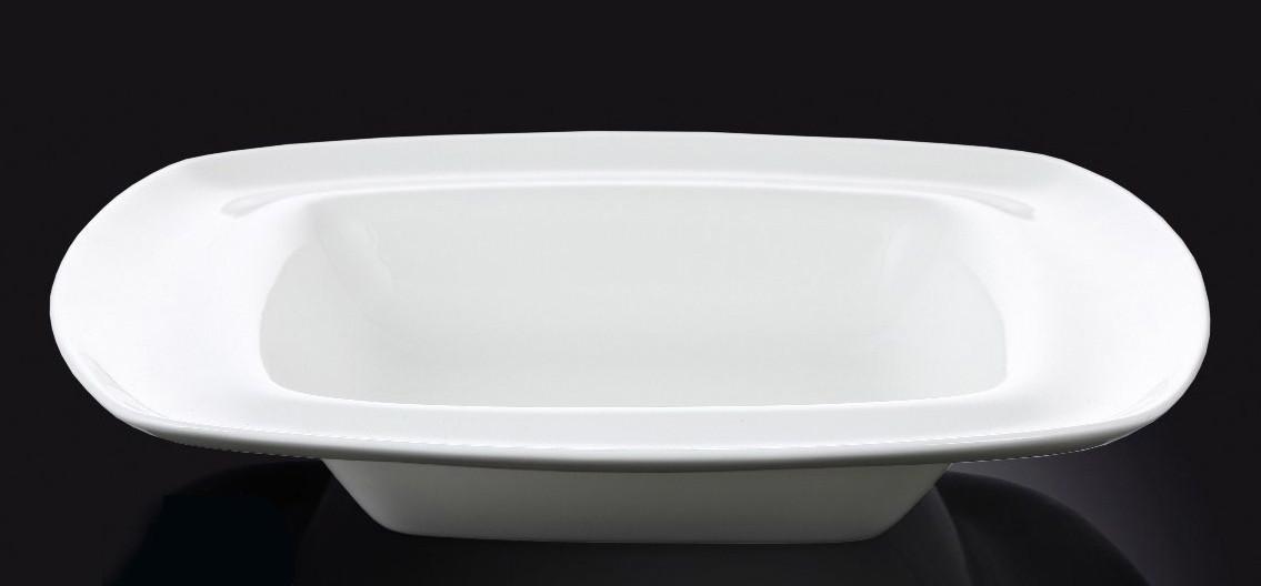 Тарелка фарфоровая глубокая Wilmax квадратная белая (25,5 см)