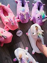 Детские домашние тапочки единороги розовые размер 26 - 33, фото 3