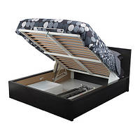 MALM Кровать с подъемным механизмом, черно-коричневый, 160х200