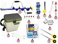 Ледобур с коваными ножами + Ящик и снасти для зимней рыбалки! В одном наборе  №148