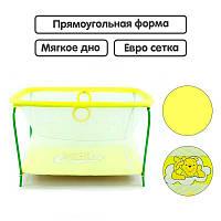 Манеж евро Люкс Винни Пух - Желтый прямоугольный, мягкое дно, евро сетка - 219208