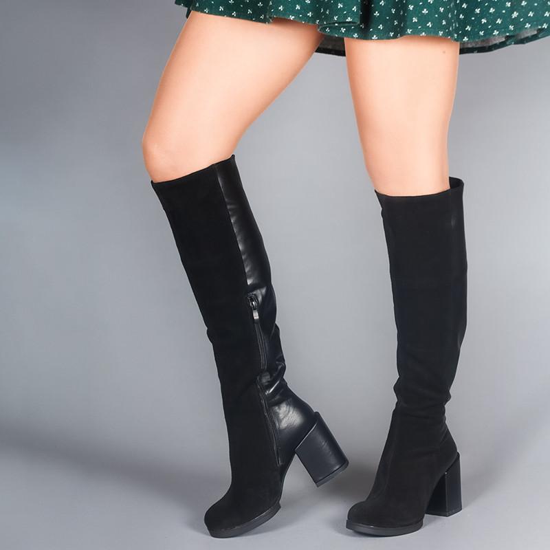 Высокие черные шикарные сапоги на каблуке, натуральная кожа и замша. Пошив на любую голень.