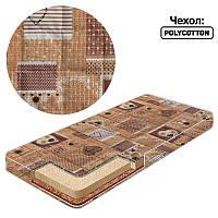 Матрас кокос - поролон - гречка - поликоттон - Сердечко в квадрате 25124 - оранжевый ТМ Беби-Текс - 219251