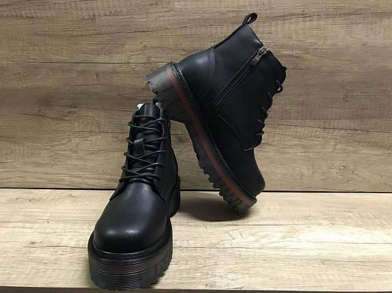 Женские модные демисезонные ботинки из эко кожи черные на толстой подошве Sopra., фото 2