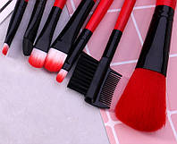 Набор кистей для макияжа MAKE UP FOR YOU 7 штук + чехол Red R.kjh586, КОД: 361105