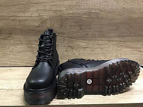 Женские модные демисезонные ботинки из эко кожи черные на толстой подошве Sopra., фото 3