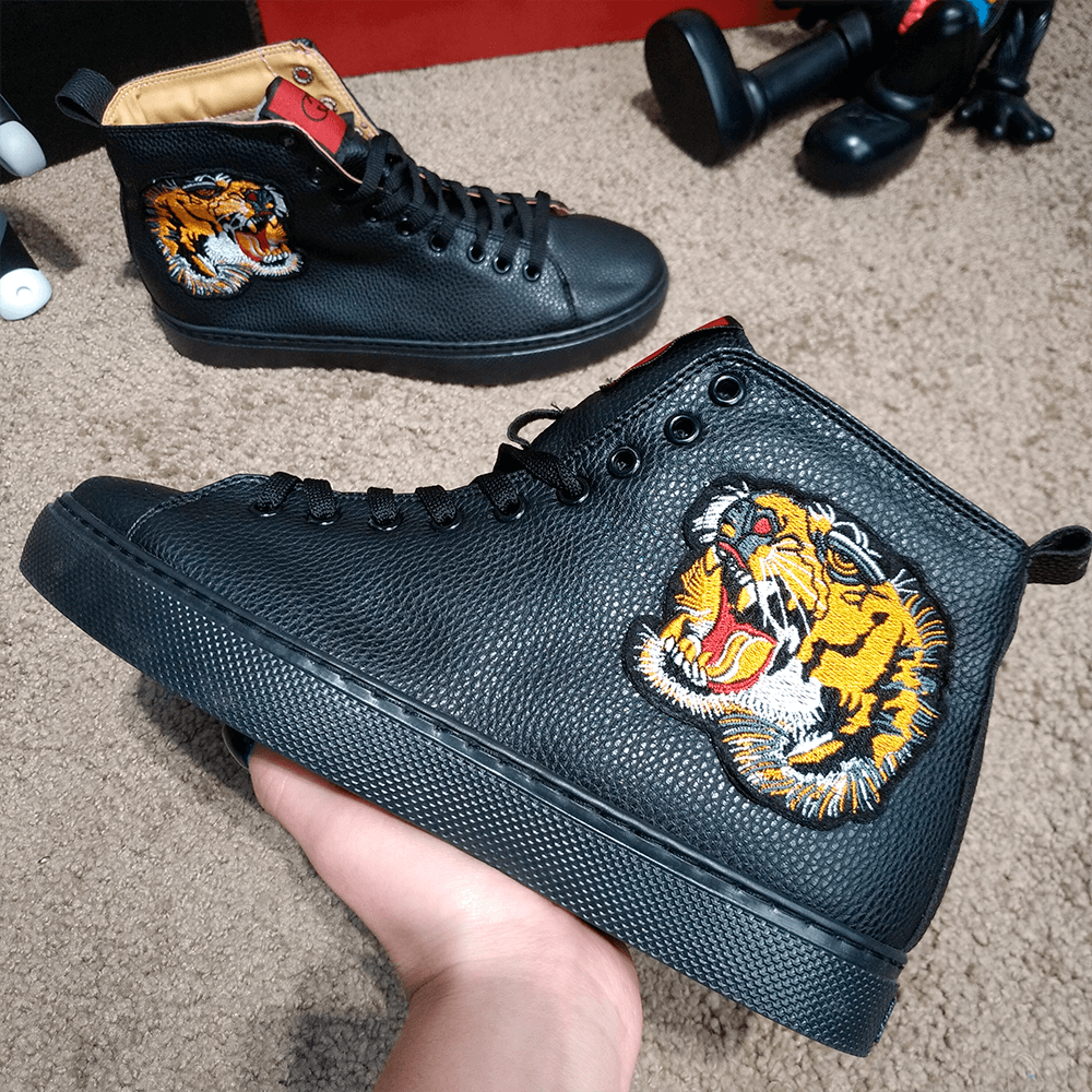 Кроссовки мужская зимние Gucci High Top Sneaker With Tiger Black