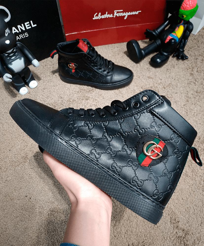 Кроссовки мужская зимние Gucci Signature Web High Top Black/Green/Red
