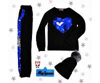Спортивний костюм чорний з синім серцем на флісі на дівчинку-підлітка зростання 140-176