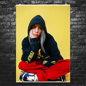 """Постер """"Billie Eilish. Билли Айлиш в красных штанах"""". Размер 60x49см (A2). Глянцевая бумага"""