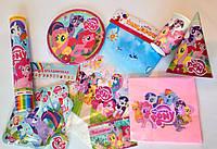 Набор посуды и декора для оформления праздника, дня рождения в стиле пони (my little pony) + хлопушка