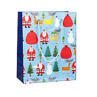 Сумочка подарочная New Year is Сoming Бумага Дед Мороз и олени 12x15x6 см 20909, КОД: 1347502