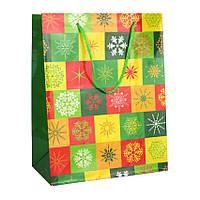 Сумочка Бумажная Snowflakes 18х23х10 см Желтый с Зеленым 20921, КОД: 1347523