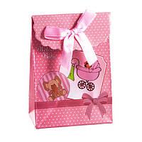 Сумочка подарочная Gift Bag Velcro Welcome Baby 10х7.5х4 см Розовый 14079, КОД: 1347544