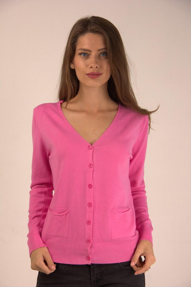 Кофта женская LadiesFashion 1234 с пуговицами (Розовый M/L)