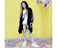 Кардиган мантия черный пайетка серебро на девочку-подростка рост 134-176