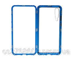 Бампер Металевий-Скляний Huawei P20 Pro синій