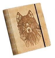 Блокнот Ben Wooden из дерева ручной работы А5 70 листов Волк BW01219, КОД: 1317085