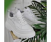 Кроссовки белые кожаные на девочку-подростка рост 134-176