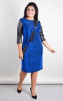 Нарядное женское платье большого размера ГАЛА,в расцветках (50-64) электрик